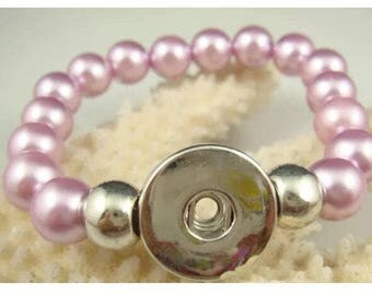 Pink Pearl Snap Button Bracelet