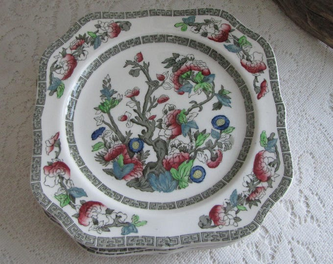 Indian Tree Square Salad Plates Johnson Bros. Vintage Dinnerware and Replacements 1979-1982 Greek Key Set of Seven (7)