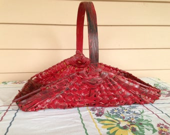 Vintage Gathering Basket - Old Red Paint - Split Oak Handle - Storage - Woven Farmhouse Basket