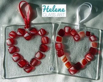 "LAST ONE - Red ""Heart Outline"" Handmade Fused Glass Suncatcher with White Cord (10cm x 10cm)"