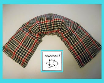 Microwave Heat Pad, Neck Heating Pad, Microwavable, Rice Heating Pad, Flax Seed, Sunny Heat Pack, Black Red Houndstooth Plaid Flannel