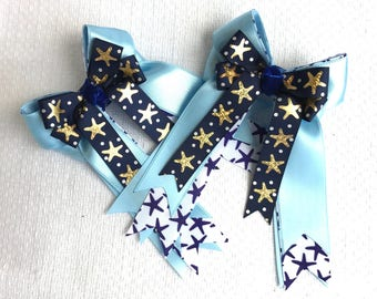 Horse Show Hair Bows/Navy blue equestrian clothing/gold stars/gift