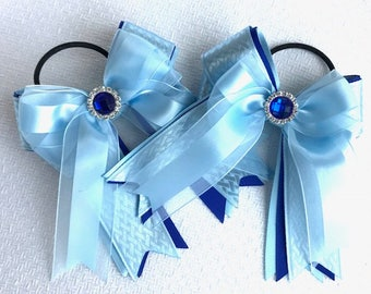 Shorty Hair Bows 4 Shows/Fancy Blue Hair Accessory/Sparkle Gem/Ready2Mail w elastic loops