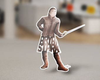 Arya Stark Sticker Design of Young Stark Wolf from Game of Thrones Television Series shown on HBO. Arya Stark Holding her Needle on decal