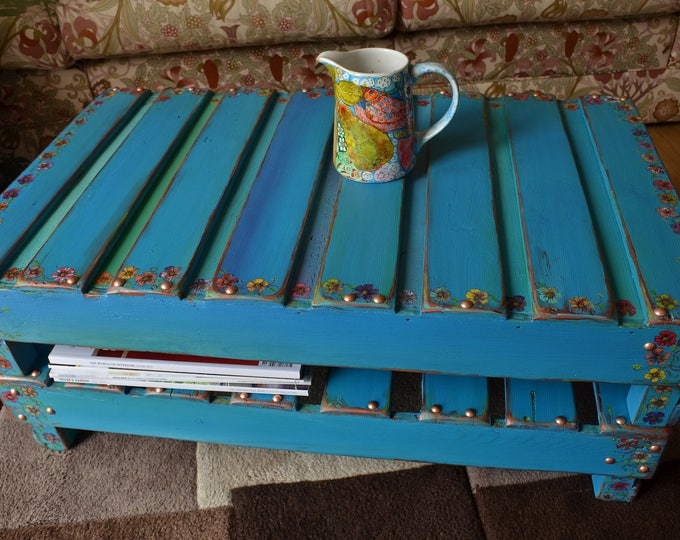 Country Cottage Style Rustic Reclaimed Wood Turquoise Coffee Table with Hand Painted Cottage Flower & Ivy Leaf Design Handmade to Order
