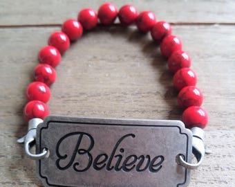 Believe Beaded Bracelet