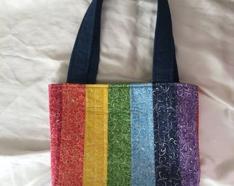 Handmade Quilted Rainbow Striped Cotton and Denim Scrappy Tote Purse Handbag