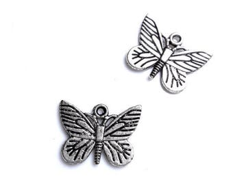 Set of 5 butterflies 22 x 16 mm silver metal