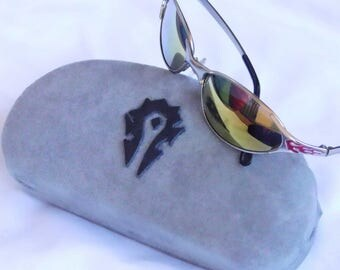 world of warcraft inspired gray ( or red) Horde eyeglass sunglass case hard eyeglass case
