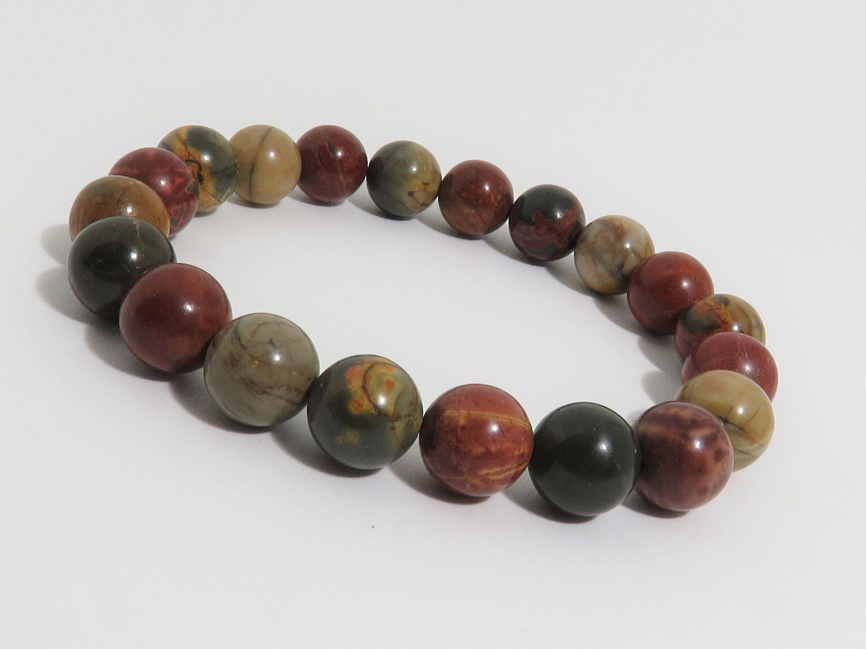 picasso jasper bracelet 10 mm natural stone earthtone