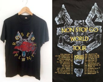 Robert Plant 1988 Non Stop Go World Tour T-Shirt // Vintage 80s Rock Tee // Classic Rock TeeShirt // Led Zeppelin // Size Large  Music Tee