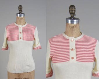 Vintage 1970s sweater // 70s short sleeve sweater