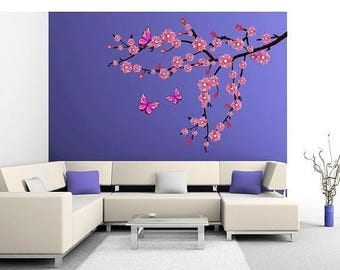 20% OFF Summer Sale Branch with Cherry Blossom tree wall decal, sticker, mural, vinyl wall art