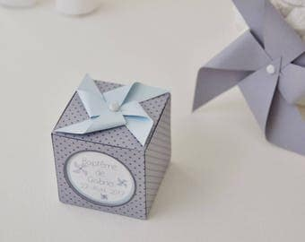 """10 boxes sweets themed """"Windmill"""" pastel blue and gray dots"""