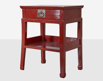 Antique Chinese Red Lacquer One Drawer Table, Chinese Red Lacquer Table,  Asian Red Lacquer