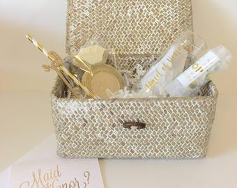 Bridesmaid Proposal Box - Stemless Champagne Glass Bridesmaid Gift Box Set - Will You Be My Maid of Honor, Bridesmaid, Flower Girl
