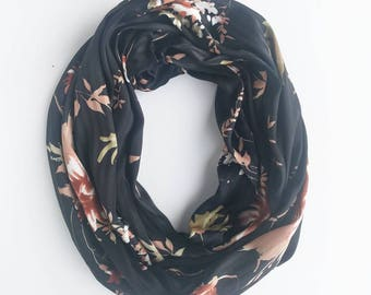 Black and Gold Infinity Scarf For Women, Valentines Day Gift, Gift For Mom, Mothers Day Satin Scarf Floral Scarf Gift For Wife Birthday Gift