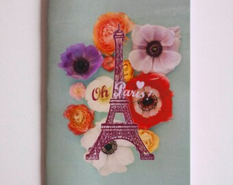 "Notebook fuchia ""Eiffel Tower floral anemones"" with blank pages"