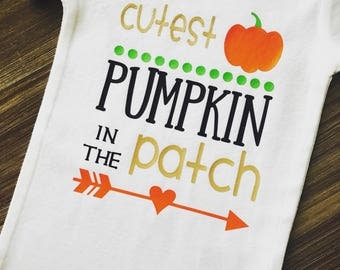 Cutest Pumkin In The Patch; Fall Onesie; Baby Fall Outfit