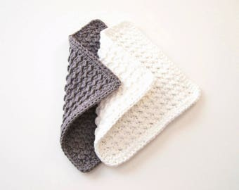 Crochet Washcloths, Gray and White Dishcloths, Cotton Spa Cloths - Set of Two