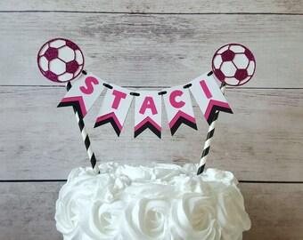 Soccer Cake Topper, Girl Soccer Birthday, Soccer Birthday Decorations, Soccer Party Decorations, Pink Soccer Party, Pink Soccer Decorations,
