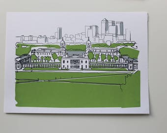 3 colour screenprint from Greenwich Park