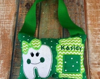 Tooth fairy pillow green tooth fairy pillow boys tooth fairy pillow girl tooth fairy pillow tooth pillow green pillow tooth fairy