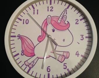 clock wall decoration Unicorn pink