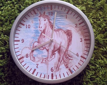 clock wall charcoal sketch horse pattern