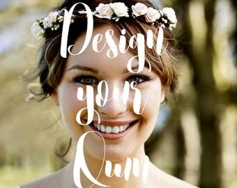 Flower Crown Design your Own, Custom Headpiece, Beach wedding hair accessories, Boho Wedding Flower Girl Bridesmaid Floral Crown