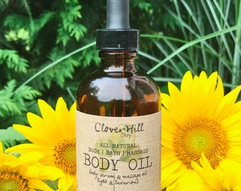 All Natural Citrus Patchouli Body Oil, Massage Oil, After Bath   Shower Moisturizer, Spa Treatment For Dry Skin, Luxury Vegan Skincare, 4 oz