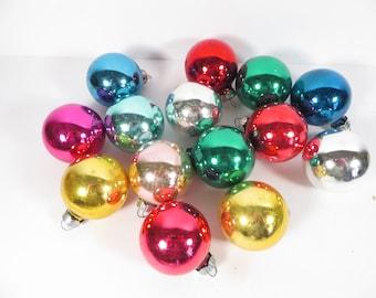 Vintage Lot of 14 Small Glass Christmas Balls - Vintage Glass Christmas Balls
