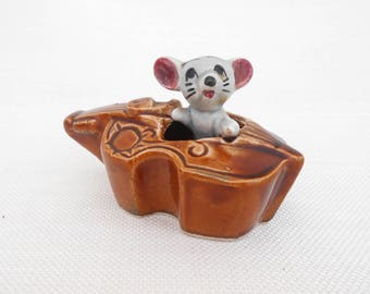 Ceramic Mouse in a Double Bass or Violin - Mouse in a Cello - Vintage Ornament - Retro Home Decor - Kitsch Figurine - Mouse Ornament