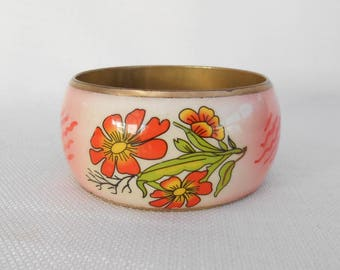 Flower Pattern Resin and Brass Bangle - Vintage Bangle - Festival/Boho Jewellery - Chunky Bangle, Chunky Bracelet, Hippy Bangle