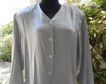 Rena Rowan for Saville Women's  Gray 100% Silk  Button Down Blouse Size 10