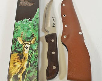 Vtg Fixed Blade Hunters Choice Hunting Knife - Lonewolf, Rosewood Handle - NOS
