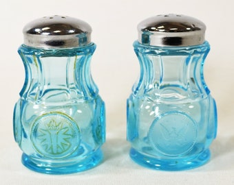 "Vintage Blue Fostoria ""Coin Glass"" Salt/Pepper Shakers"