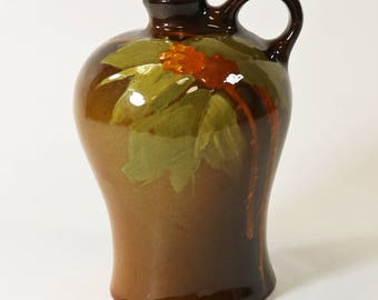 "Antique Owens Pottery Utopian Jug #793, Berries and Leaves - 6 1/2"" Tall"