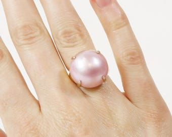 Estate  925 Silver Ring Two Tone Mabe Pearl Sz 6 Gold Tone Signed