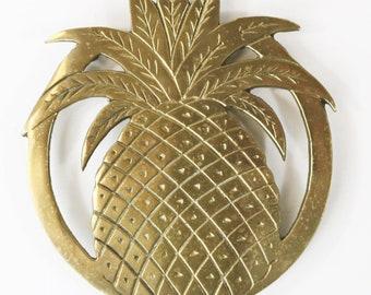 """Vtg Brass Pineapple Trivet Hot Plate Hollywood Regency Decor 7"""" Rubber Feet"""