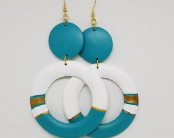 Dangle earrings, wooden earrings, hand painted earrings, homemade earrings, statement earrings, tribal earrings, African earrings, earrings