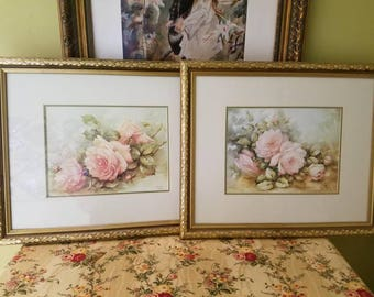 Pair of Rose Prints in gold frames