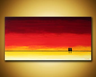 Love birds Art, Original painting love birds on wire art Yellow orange sunset painting Love art abstract sunset art yellow orange 12x24 art