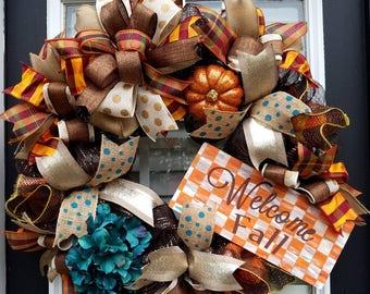 Fall Wreath,Welcome Decor,Hydrangea Wreath with Pumpkin,Fall Front Door Wreaths, Makenzie Childs Inspired Wreath,Autumn Door Wreath