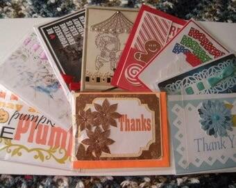 Grab Bag of 9 Handmade Greeting Card Assortment