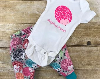 Hedgehug anyone? pants and onesie infant outfit, Hedgehog outfit, Newborn outfits, Coming home outfits, Baby shower gifts, Hedgehog shirts