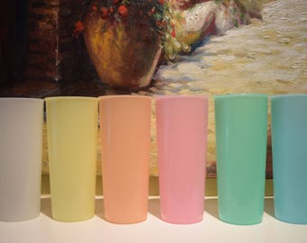 6 Tupperware Pastel Tumblers 14 oz. Glossy Finish