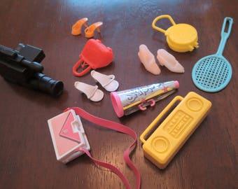 Vintage Barbie Accessories Video Camera, Boom Box, Cheer Horn, Tennis Racket, 3 pairs shoes