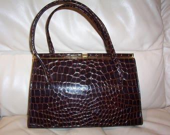 Vintage Handbag. Brown Kelly handbag. Kelly handbag. Brown patent crock. MacLaren England