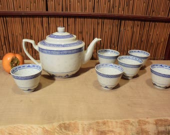 Vintage Chinese Porcelain Blue and White Rice Pattern Tea Set